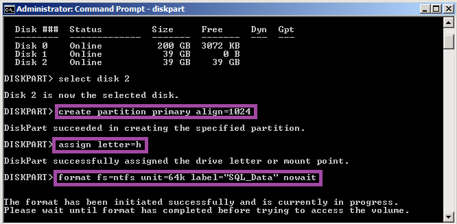 HOW TO: Create a New Partition or Volume with SQL Server in